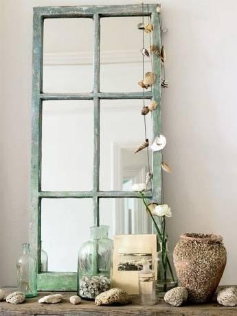espejo de pared de madera
