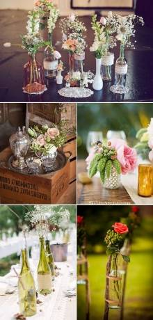 decorar con flores en botellas