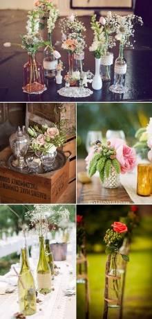 decorar con flores en botellas