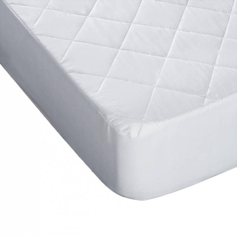 Protector de colchón acolchado e hipoalergénico (blanco, Cama 090: 090x200 cm)