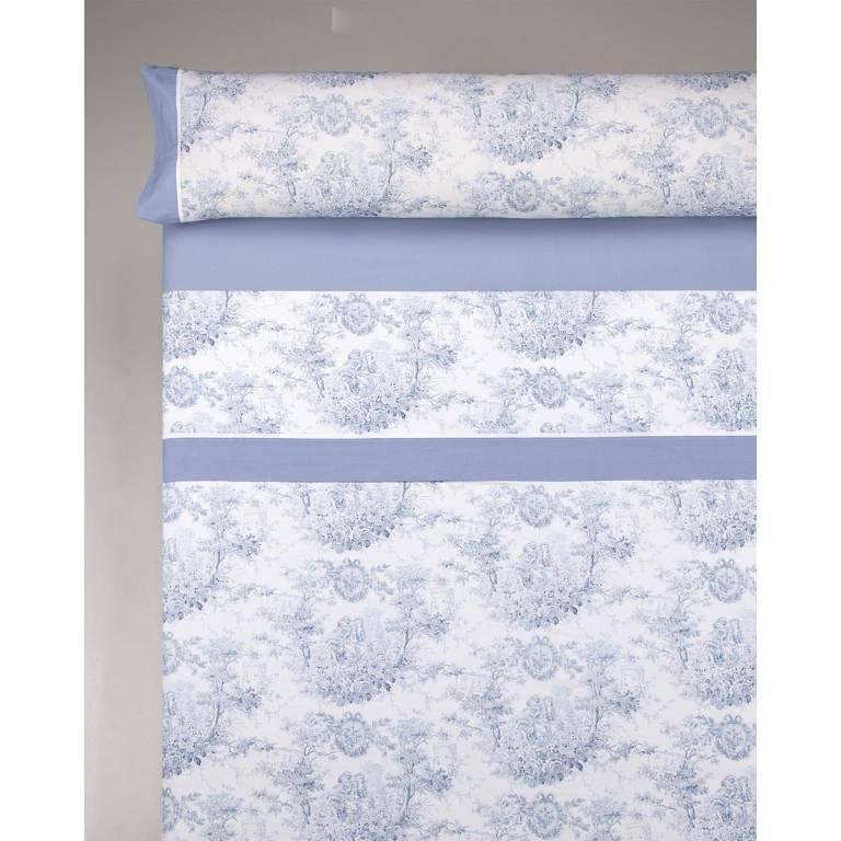 Juego de sábanas Jesbo (azul, Cama 090: 090x200 cm)