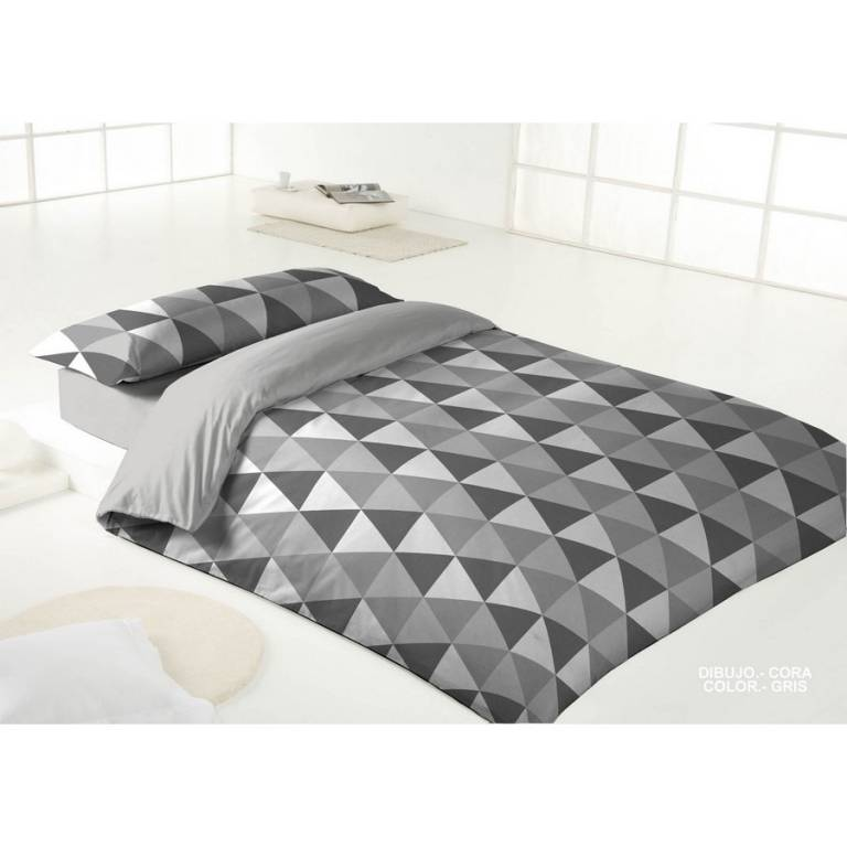 Funda n rdica cora gris cama 105 bertha hogar for Funda nordica cama 105
