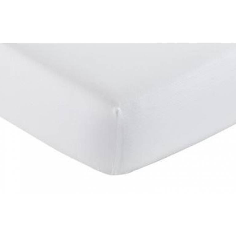 Sábana bajera ajustable blanca 100% algodón (blanco, Cama 090)