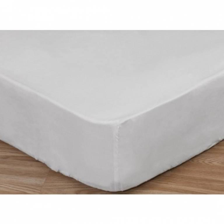 Sábana bajera ajustable blanca 50%algodón 50%poliéster (blanco, Cama 090)