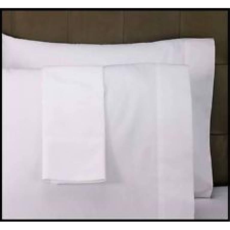 Funda de almohada blanca 50% algodón 50%poliéster (blanco, Cama 090)
