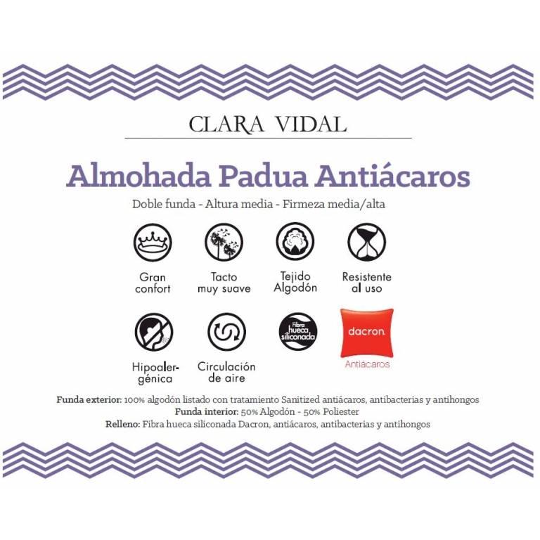 Almohada Padua antiácaros de Clara Vidal (blanco, 40x90 cm)