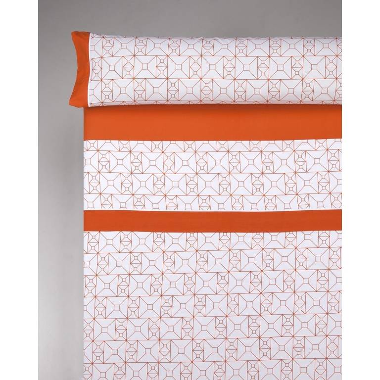 Juego de sábanas Cadly (naranja, Cama 180)