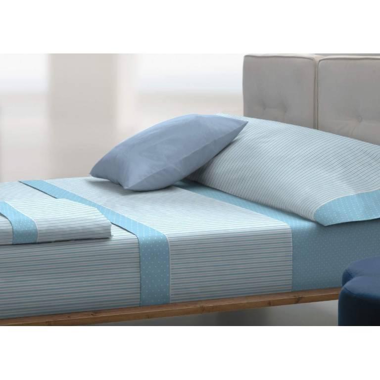 Juego de sábanas de franela T-0950 (azul, Cama 090)